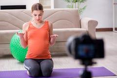 Das Aufnahmevideo der schwangeren Frau für Blog und vlog Stockfotografie