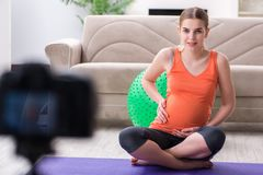 Das Aufnahmevideo der schwangeren Frau für Blog und vlog Lizenzfreies Stockfoto
