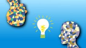 Das Auftauchen der Idee, ein Mosaik des menschlichen Kopfes, Inspiration und Kreativität stock footage