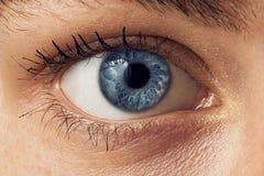 Das Auge ist das Blau eines schönen jungen Mädchens Stockfotografie
