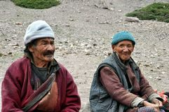 Alte Beduinen von Ladakh (Indien) Stockfoto