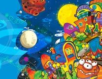 Das Ausländerthema - UFO - Stern - Kindergarten - Menü - Schirm - Raum für glückliche und lustige Stimmung des Textes - - Illustra Stockfotos