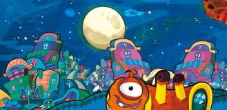 Das Ausländerthema - UFO - Stern - Kindergarten - Menü - Schirm - Raum für glückliche und lustige Stimmung des Textes - - Illustra Lizenzfreie Stockfotos