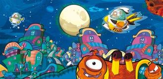 Das Ausländerthema - UFO - Stern - Kindergarten - Menü - Schirm - Raum für glückliche und lustige Stimmung des Textes - - Illustra Lizenzfreie Stockbilder