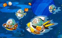Das Ausländerthema - UFO - Stern - Kindergarten - Menü - Schirm - Raum für glückliche und lustige Stimmung des Textes - - Illustra Lizenzfreies Stockbild