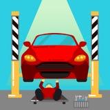 Das Auto hob auf den Aufzug und eine Schüssel für Schmierölwiedereinbau an Auto-Reparaturen und Diagnosen Selbstwartung Lizenzfreies Stockfoto