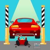 Das Auto hob auf den Aufzug und eine Schüssel für Schmierölwiedereinbau an Auto-Reparaturen und Diagnosen Selbstwartung Service Lizenzfreie Stockbilder