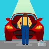 Das Auto hob auf den Aufzug und eine Schüssel für Schmierölwiedereinbau an Auto-Reparaturen und Diagnosen Selbstwartung Stockfoto