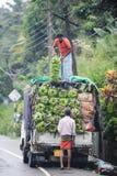 das Auto lieferte Bananen an Shop von FRU Lizenzfreie Stockfotos