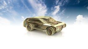 Das Auto wird vom Geld, das Konzept der Finanzierung der Autoindustrie hergestellt und leiht zu kaufenden Autos, betriebliche Kos lizenzfreie abbildung