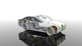 Das Auto wird vom Geld, das Konzept der Finanzierung der Autoindustrie hergestellt und leiht zu kaufenden Autos, betriebliche Kos stock abbildung