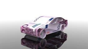 Das Auto wird von den Eurobanknoten, das Konzept der Finanzierung der Autoindustrie hergestellt und leiht zu kaufenden Autos, bet lizenzfreie abbildung