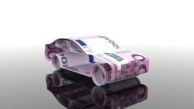 Das Auto wird von den Eurobanknoten, das Konzept der Finanzierung der Autoindustrie hergestellt und leiht zu kaufenden Autos, bet stock abbildung