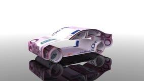Das Auto wird von den Eurobanknoten, das Konzept der Finanzierung der Autoindustrie hergestellt und leiht zu kaufenden Autos, bet stock video footage