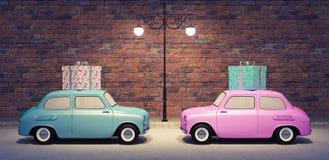 Das Autotragen Geschenke 3d übertragen Illustration 3d Stockfoto