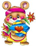 Das Bärenjunge mit einem Geschenk und einem c Lizenzfreie Stockbilder