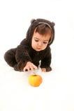 Das Baby, das als Bär gekleidet wird, erreicht für Apfel auf einem weißen Hintergrund Stockfotos