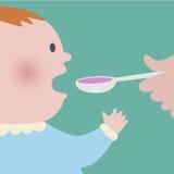 Das Baby, das Löffel von Sirupmedizin nimmt Stockbilder