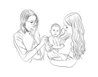 das Baby ist krank Kinderarztbehandlung vektor abbildung