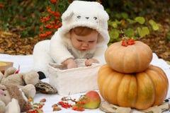 Das Baby, das mit Kürbis aufwerfen und die Spielwaren unter Bäumen im Herbst stellen gleich Stockfoto