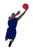 Das Basketball-Spielerspringen lizenzfreie abbildung