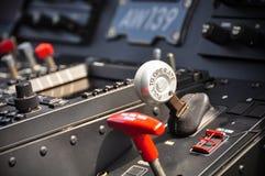 Das Bedienfeld der Pilot innerhalb eines Passagierflugzeuges, Bedienfeld des Flugzeuges Stockbild