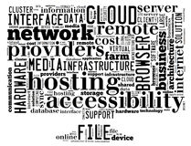Das Begriffstag-cloud, das Wörter enthält, bezog sich auf der rechnenden Wolke, Computerleistung, Lagerung, Vernetzung, Mobilität Stockfoto