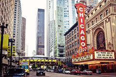 Das berühmte Chicago-Theater in Chicago, Illinois. Stockbild