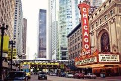 Das berühmte Chicago-Theater in Chicago, Illinois. Stockbild
