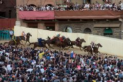 Das berühmte Pferderennen ` Palio-Di Siena-` lizenzfreies stockfoto