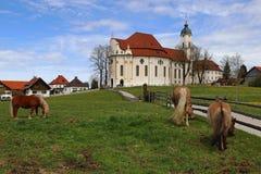 Das berühmte Wieskirche in Steingaden im Bayern Deutschland Stockfotografie