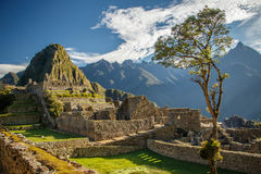 Das berühmteste Bild von Peru - Machu Picchu lizenzfreies stockfoto