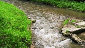 Das Bett des Flusses Olkhovka, in städtischem, medizinisch, Erholungsort, alpiner Park von Kislovodsk stock video footage