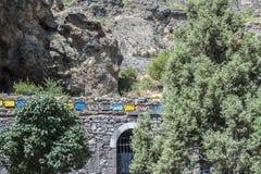 Das Bienenhaus des aktiven Höhlenklosters Geghard Stockbilder