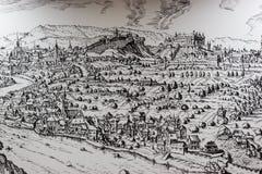 Das Bild der mittelalterlichen Stadt mit schwarzer Farbe Stockfoto