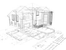 Das Bild des Hauses 3D auf dem Plan stockfotos