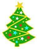 Das Bild des hellen Weihnachtsbaums mit Sternen 12 Stockbild
