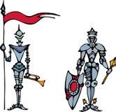 Das Bild des Ritters in einer Rüstung. Stockfotografie