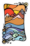 Das Bild einer Abnahme und der Berge. Lizenzfreie Stockfotos