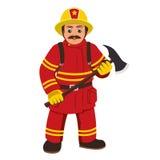 Das Bild eines Feuerwehrmanns, der eine Axt hält Stockbilder