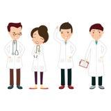 Das Bild mit 4 Doktoren in den weißen Mänteln Stockfotos