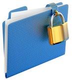 Das blaue Faltblatt mit goldener eingehängter Verriegelung Stockfotos