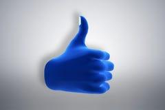 Das blaue Handzeichen, das O.K., wie darstellt, stimmen zu stock abbildung
