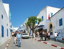 Das blaue und weiße Dorf von Sidi Bou besagt Stockbilder