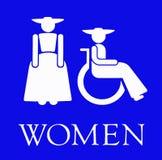 Das blaue Zeichen für den Ladiesâ Restroom Lizenzfreie Stockbilder