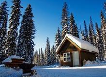 Das Blockhaus, das im Schnee versteckt wurde, bedeckte Wald Stockbild