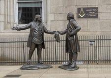 ` Das Bond-` durch James West, berühmte Maurer George Washington und Benjamin Frankin lizenzfreies stockfoto