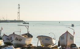 Das Boot des Fischers im alten Pomorie, Bulgarien Stockbilder