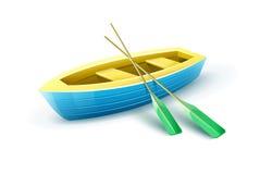 Das Boot des hölzernen Fischers mit Paddeln für die Fischerei Lizenzfreie Stockfotos