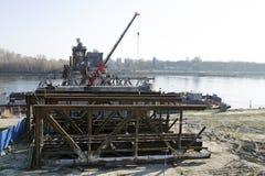 Das Bratislava Stary die meiste demontierende Brücke Lizenzfreies Stockbild